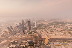 Panorama of night Dubai during sandstorm Royalty Free Stock Photos