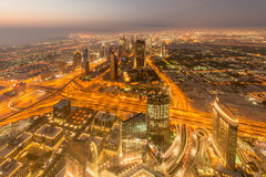 Panorama of night Dubai during sunset Royalty Free Stock Photography
