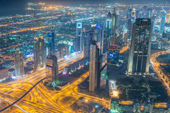 Panorama of night Dubai during sunset Stock Photo