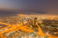 Panorama of night Dubai during sunset Royalty Free Stock Photo