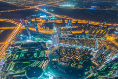 Panorama of night Dubai during sunset Royalty Free Stock Photo
