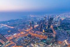 Panorama of night Dubai during sunset Royalty Free Stock Image