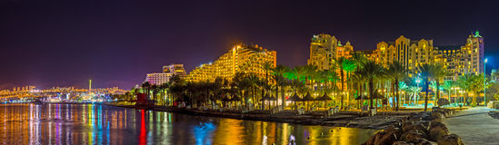 Panorama of night Eilat Royalty Free Stock Images