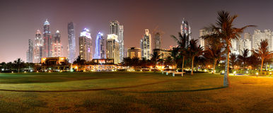 Panorama of night illumination of the luxury hotel Royalty Free Stock Photos