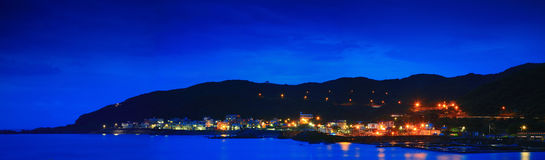 Panorama Night Image of North Coastline in Taipei, Taiwan Stock Images