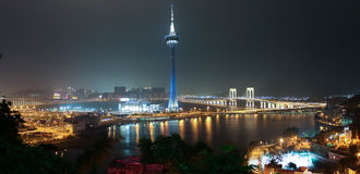 Panorama of Night Macao with Macao Tower and Sai Van Bridge Royalty Free Stock Images