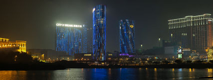 Panorama of Night Macau with City Of Dreams Casino Royalty Free Stock Photography