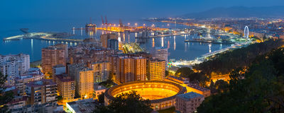 Panorama of night Malaga Stock Images