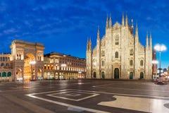 Panorama of night Piazza del Duomo in Milan, Italy stock photos