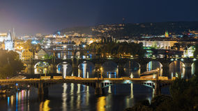 Panorama Night Prague, Czech Republic Royalty Free Stock Images
