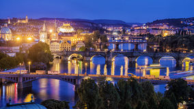 Panorama Night Prague, Czech Republic Royalty Free Stock Photos