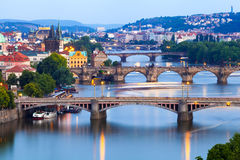 Panorama of the night Prague from the Letna park, Czech Republic. Stock Image