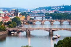 Panorama of the night Prague from the Letna park, Czech Republic. Royalty Free Stock Image