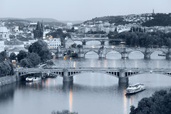 Panorama of the night Prague from the Letna park, Czech Republic. Royalty Free Stock Photo