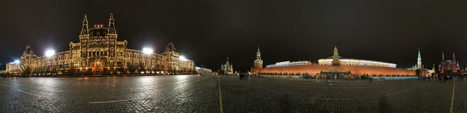 Panorama of the night Red square. Moscow Royalty Free Stock Photography