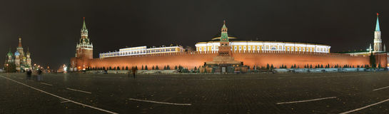 Panorama of the night Red square. Moscow Royalty Free Stock Images