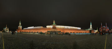 Panorama of the night Red square. Moscow Stock Photography