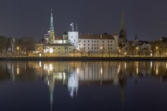 Panorama of the night Riga, capital of Latvia. Riga Castle night view.  stock images