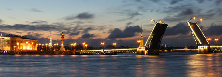 Panorama of night St. Petersburg, Russia Stock Photo