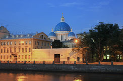 Panorama of night St. Petersburg, Russia Stock Images