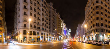 Panorama of night street. Madrid, Spain. Gran Via Royalty Free Stock Photography