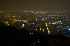 Panorama at night, Torino, İtaly Royalty Free Stock Photo