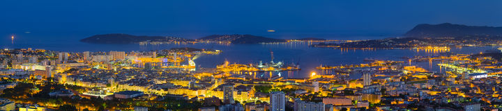 Panorama of night Toulon Stock Images