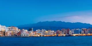 Panorama of night Venetian quay, Chania, Crete Stock Images