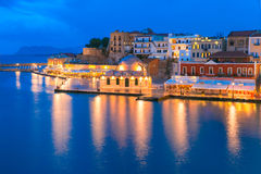 Panorama night Venetian quay, Chania, Crete Stock Photo