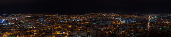 Panorama of night view on beautiful old city of Lviv Royalty Free Stock Photos