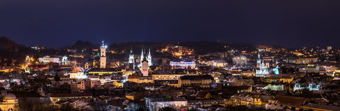 Panorama of night view on beautiful old city of Lviv. From high hill - landscape stock photos