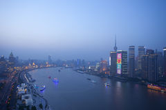 Panorama night view  of shanghai huangpu river Stock Images
