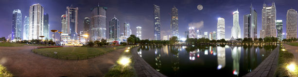 Panorama night view of shanghai Lujiazui Royalty Free Stock Photos