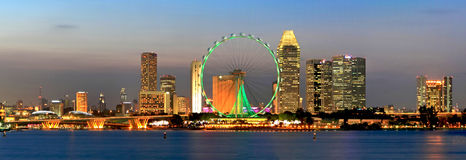 Panorama Of Night View Of Singapore City Stock Photos