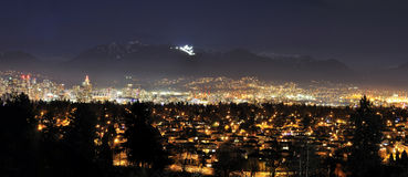Panorama Night View of Vancouver Royalty Free Stock Photography