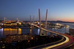 Panorama of night Vladivostok. Golden bridge. Russia Stock Photography