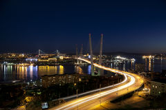 Panorama of night Vladivostok. Russia Stock Image