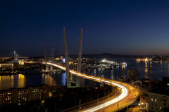 Panorama of night Vladivostok. Russia Royalty Free Stock Images