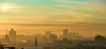 Panorama at night winter city tightened smog. Panorama at night winter city Stock Photography