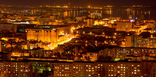 Panorama of nightlife Russia, the evening city of Saratov with Volga River stock image