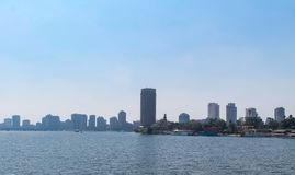 Panorama of the Nile River, view of the Cairo city bridges buildings and pyramids. Nile River, view of the Cairo city bridges buildings and pyramids royalty free stock images