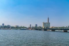 Panorama of the Nile River, view of the Cairo city bridges buildings and pyramids. Nile River, view of the Cairo city bridges buildings and pyramids stock photos