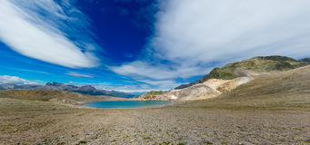 Panorama of nlue lake of high mountains. In the summer Royalty Free Stock Images