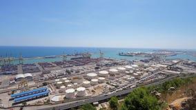 Panorama no porto marítimo de Barcelona, Montjuic filme