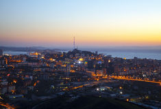 Panorama noc Vladivostok. Rosja Obrazy Royalty Free