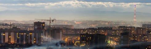 Panorama nocy widok z lotu ptaka Ivano-Frankivsk miasto, Ukraina Scena nowożytny nocy miasto z jaskrawymi światłami wysocy budynk Fotografia Stock