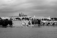 Panorama noir et blanc de Prague photo libre de droits