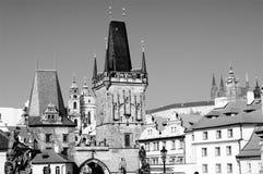 Panorama noir et blanc de Prague image stock