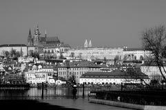 Panorama noir et blanc de Prague image libre de droits