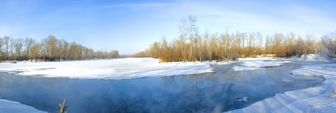 Panorama. Non-freezing winter lake. Bare winter trees near the pond above which steam rises. Winter. Russia. Abakan royalty free stock photo